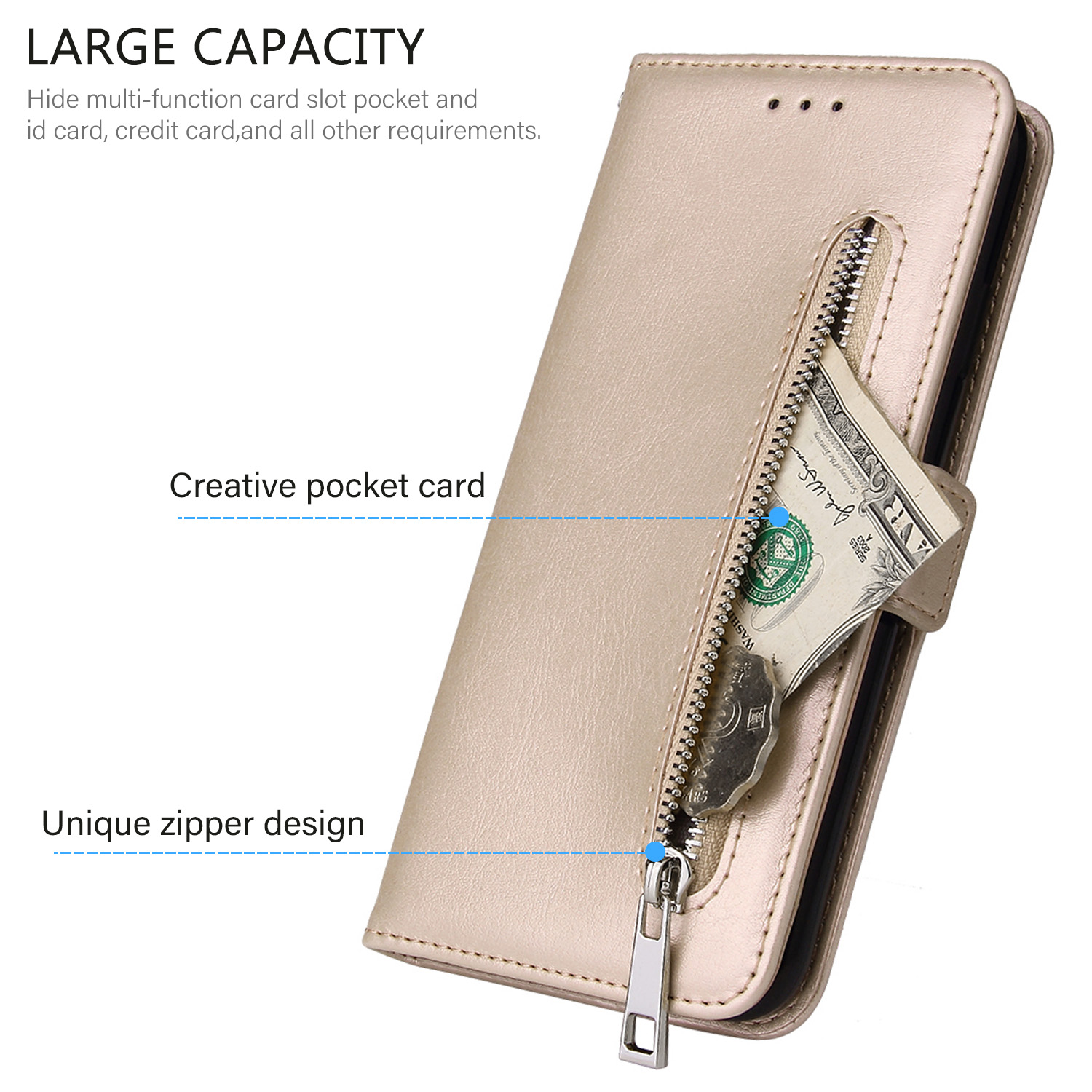 Details about For Huawei Nova 3i 3e P30 Pro Mate 20 Y5 Y6 Y7 Case Leather  Zipper Wallet Cover
